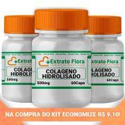 KIT Colágeno Hidrolisado 500mg 60 Cápsulas (3und)
