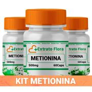 Kit DL Metionina 500mg 60 Cápsulas (3 frascos)