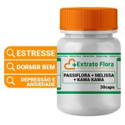 Passiflora 200mg + Melissa 200mg + Kawa Kawa 100mg 30 Cápsulas