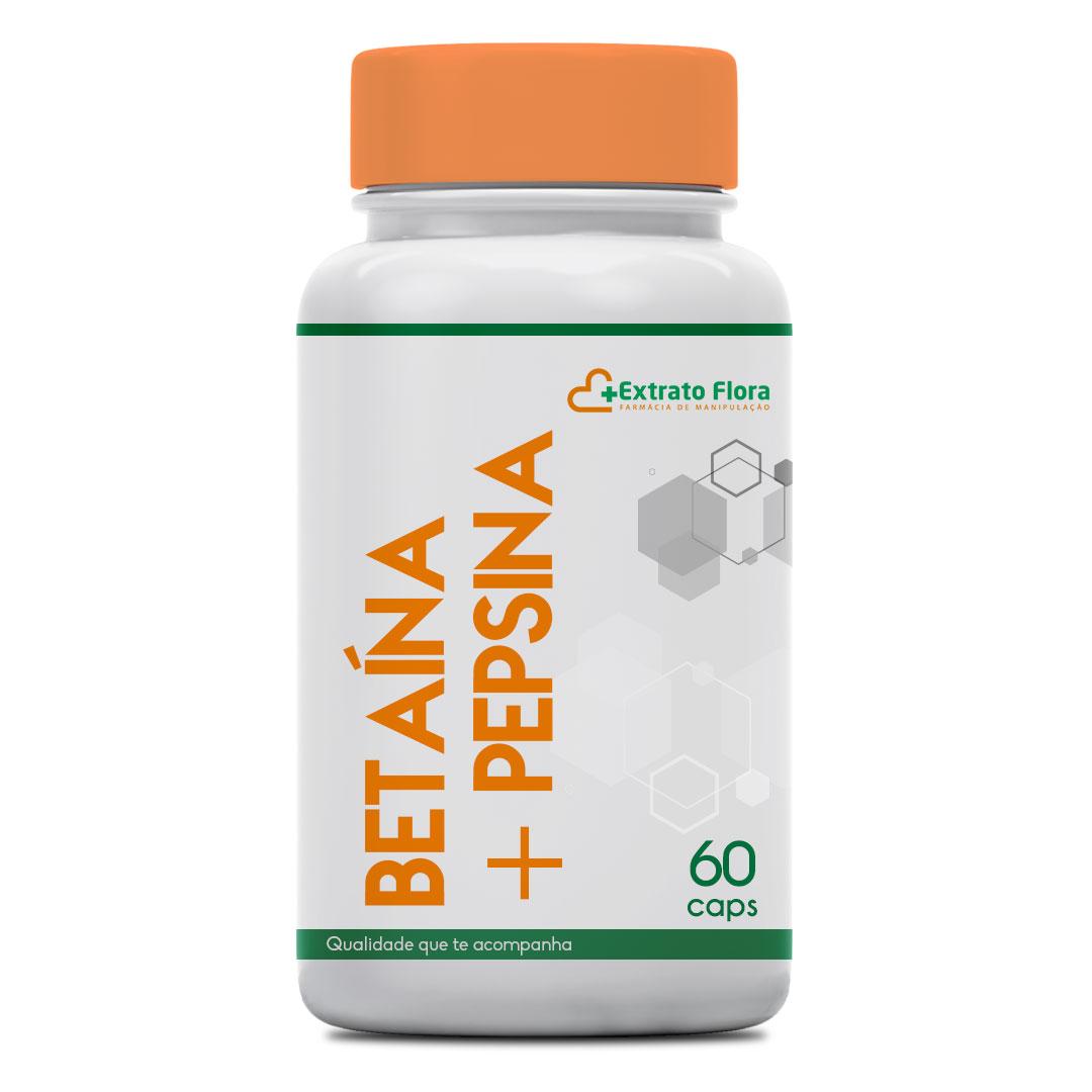 Betaína 300mg + Pepsina 40mg 60 Cápsulas