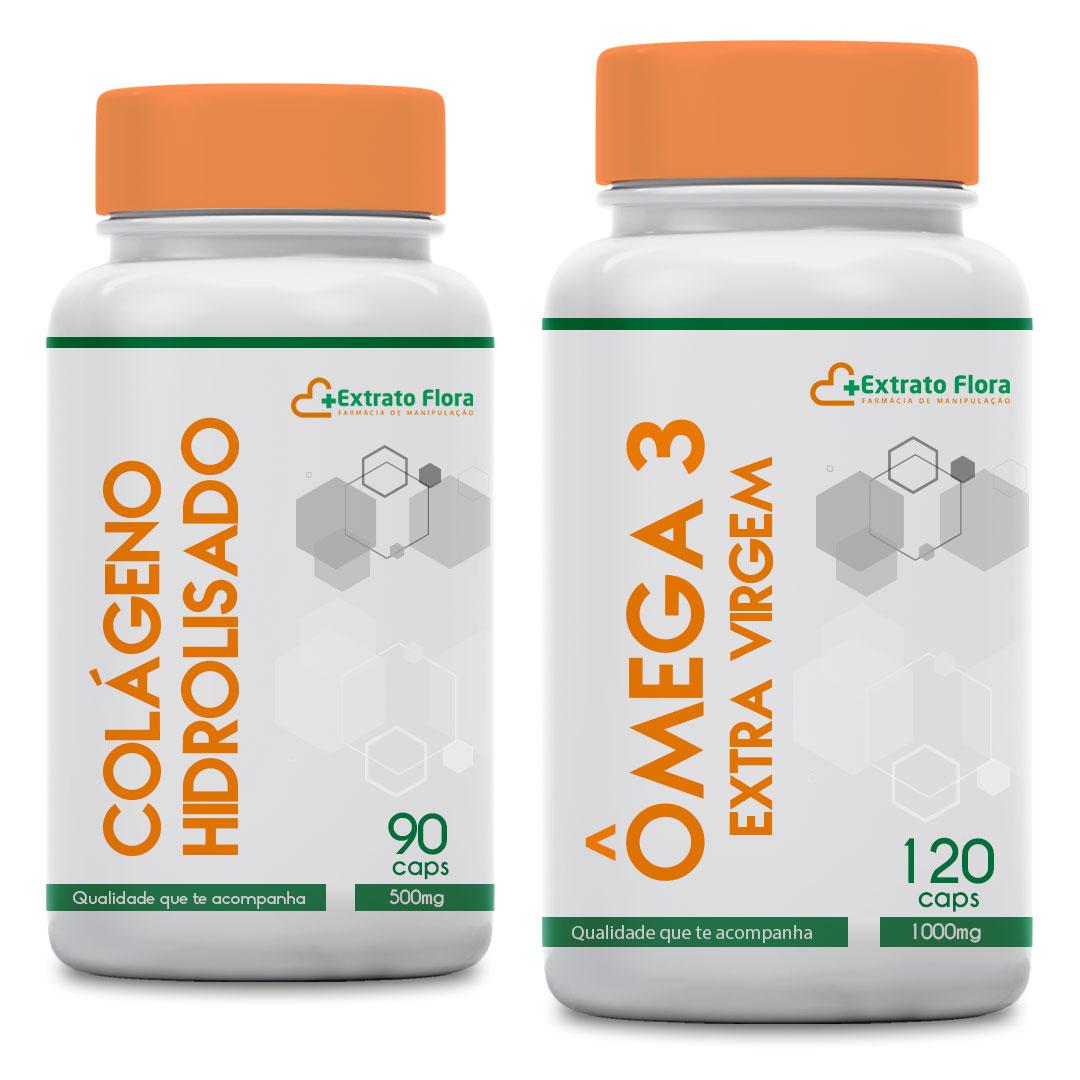 Colágeno Hidrolisado 90 Cápsulas 500mg brinde Ômega 3
