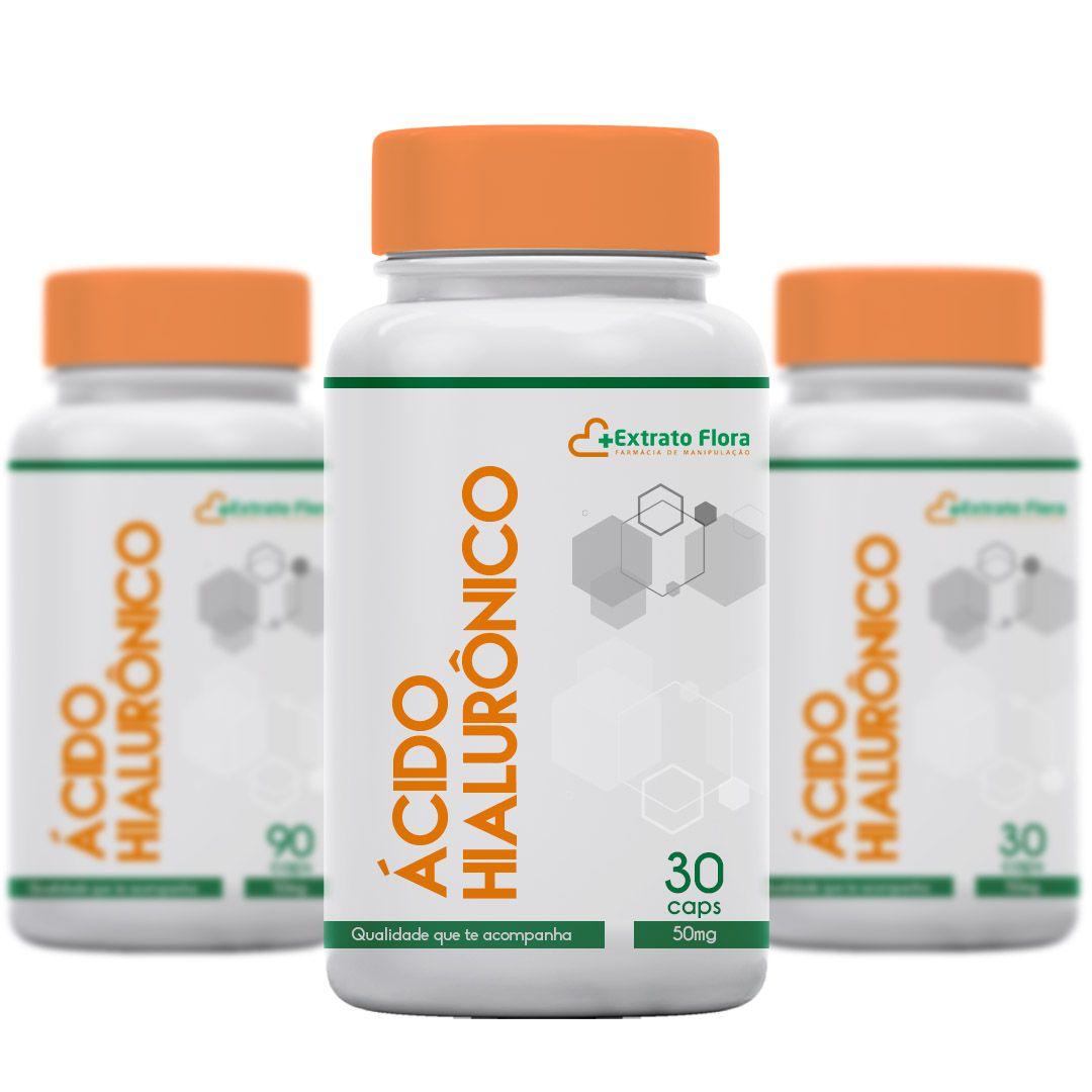 Kit Ácido Hialurônico 50mg 30 Cápsulas (3 frascos)