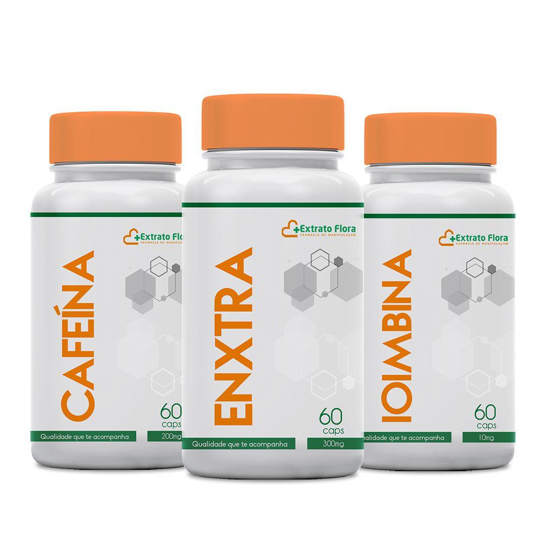 KIT PRÉ AERÓBICO Cafeína 200mg - Enxtra 300mg - Ioimbina 10mg 60 Cápsulas