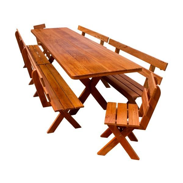 Conjunto Mesa 2,50M + 04 Bancos 1,20M + 02 Cadeiras  - Mesas para Churrasco