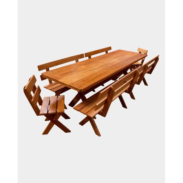Conjunto Mesa 3,00M + 04 Bancos 1,40M + 02 Cadeiras  - Mesas para Churrasco