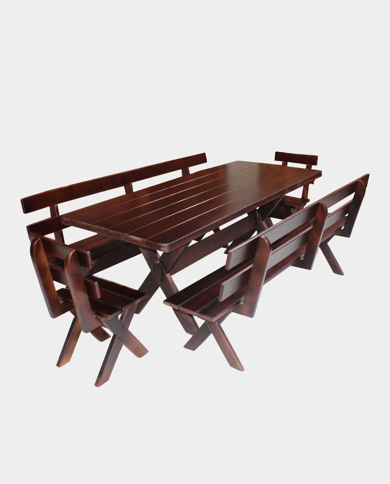 Conjunto Mesa com 02 Bancos e 02 Cadeiras Querência Escuro 2,00M