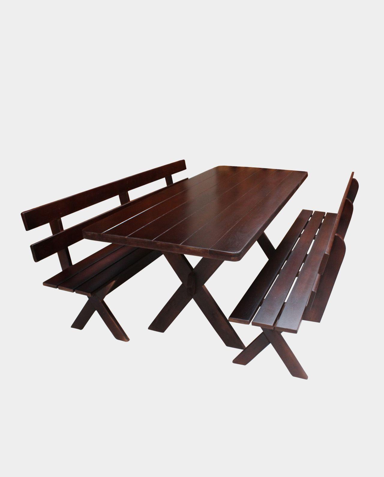 Conjunto Mesa com 02 Bancos e 02 Cadeiras Querência Escuro 2,00M   - Mesas para Churrasco