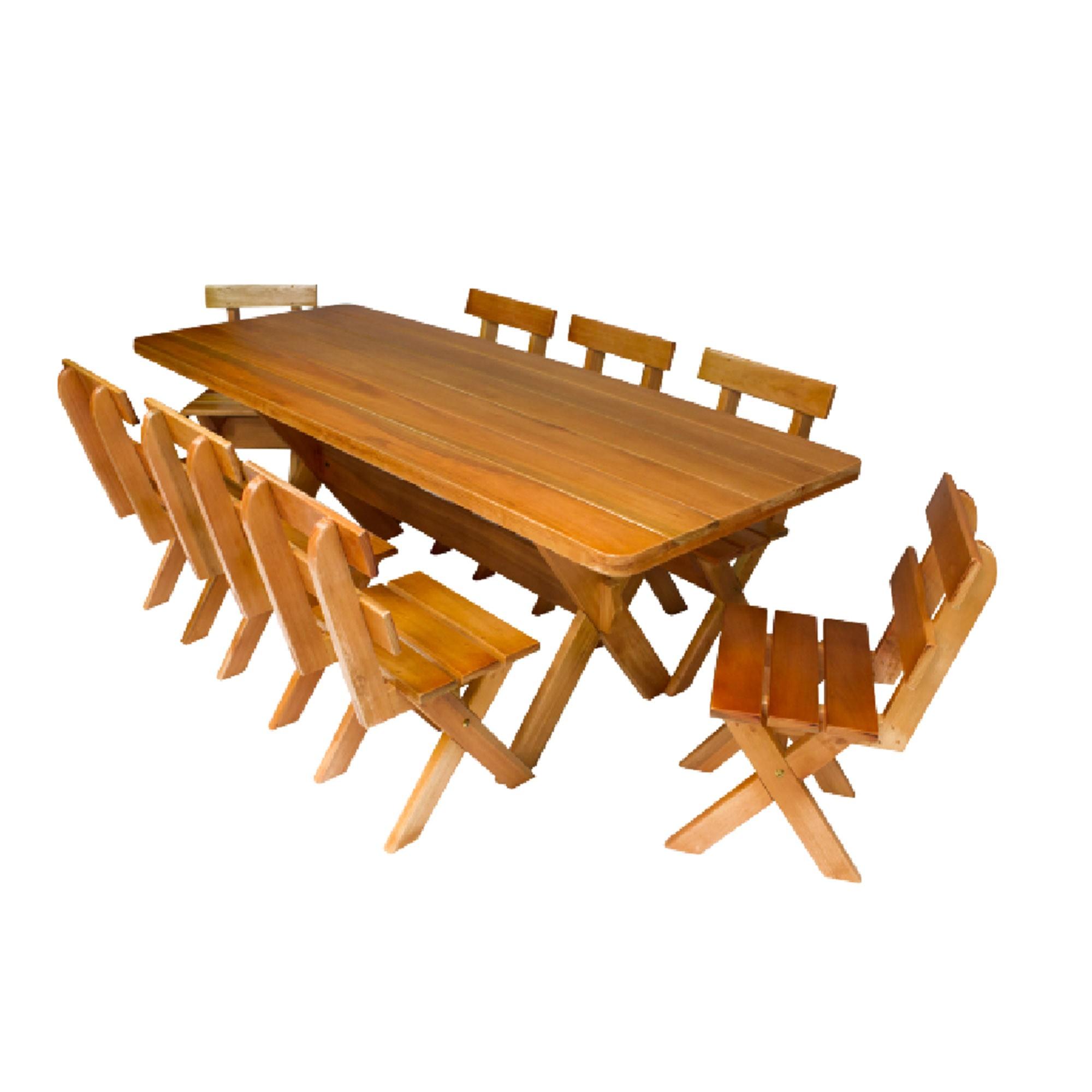 Conjunto para Churrasco em Eucalipto + 08 Cadeiras