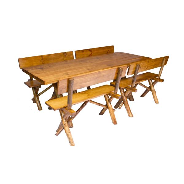 Conjunto Mesa 2,20m e 04 Bancos Modelo Rústico  - Mesas para Churrasco