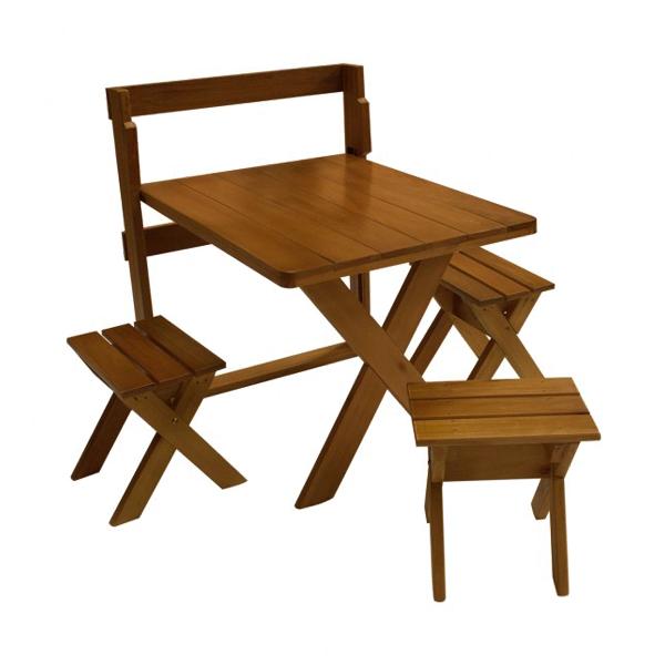 Mesa de Parede com 3 Banquetas para Churrasco 1,00m  - Mesas para Churrasco