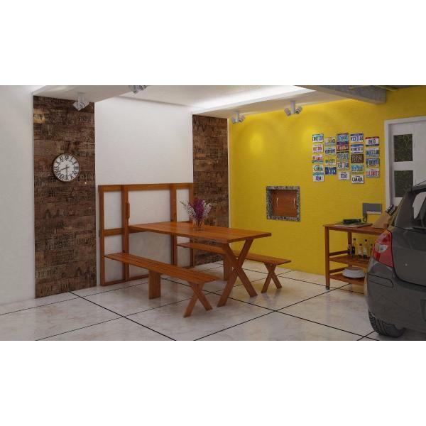 Mesa de Parede para Churrasco em Eucalipto 2,00m  - Mesas para Churrasco