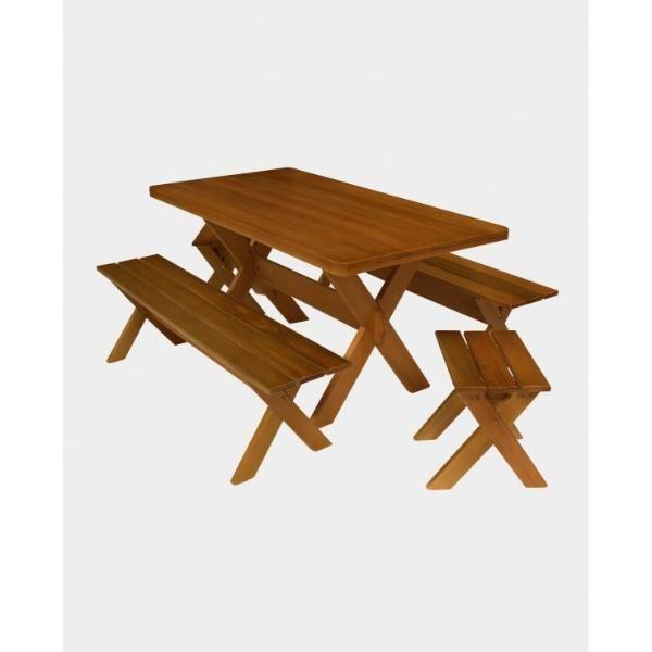 Mesa para Churrasco Com Bancos e Cadeiras S/Encosto 1,60m  - Mesas para Churrasco