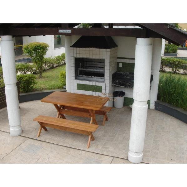 Mesa para Churrasco em Angelim com 2 Bancos sem Encosto 2,00m  - Mesas para Churrasco