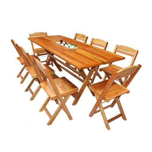 Mesa para Churrasco Gelare Com 08 Cadeiras Dobráveis