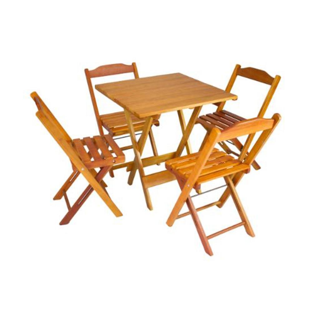 Mesa Quadrada Dobrável para Churrasco com 4 Cadeiras
