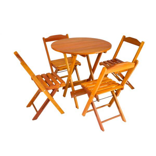 Mesa Redonda para Churrasco Dobrável com 4 Cadeiras