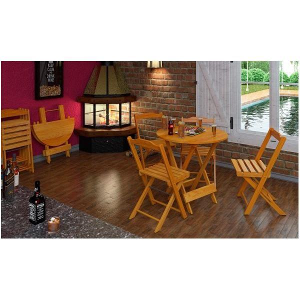 Mesa Redonda para Churrasco Dobrável com 4 Cadeiras  - Mesas para Churrasco