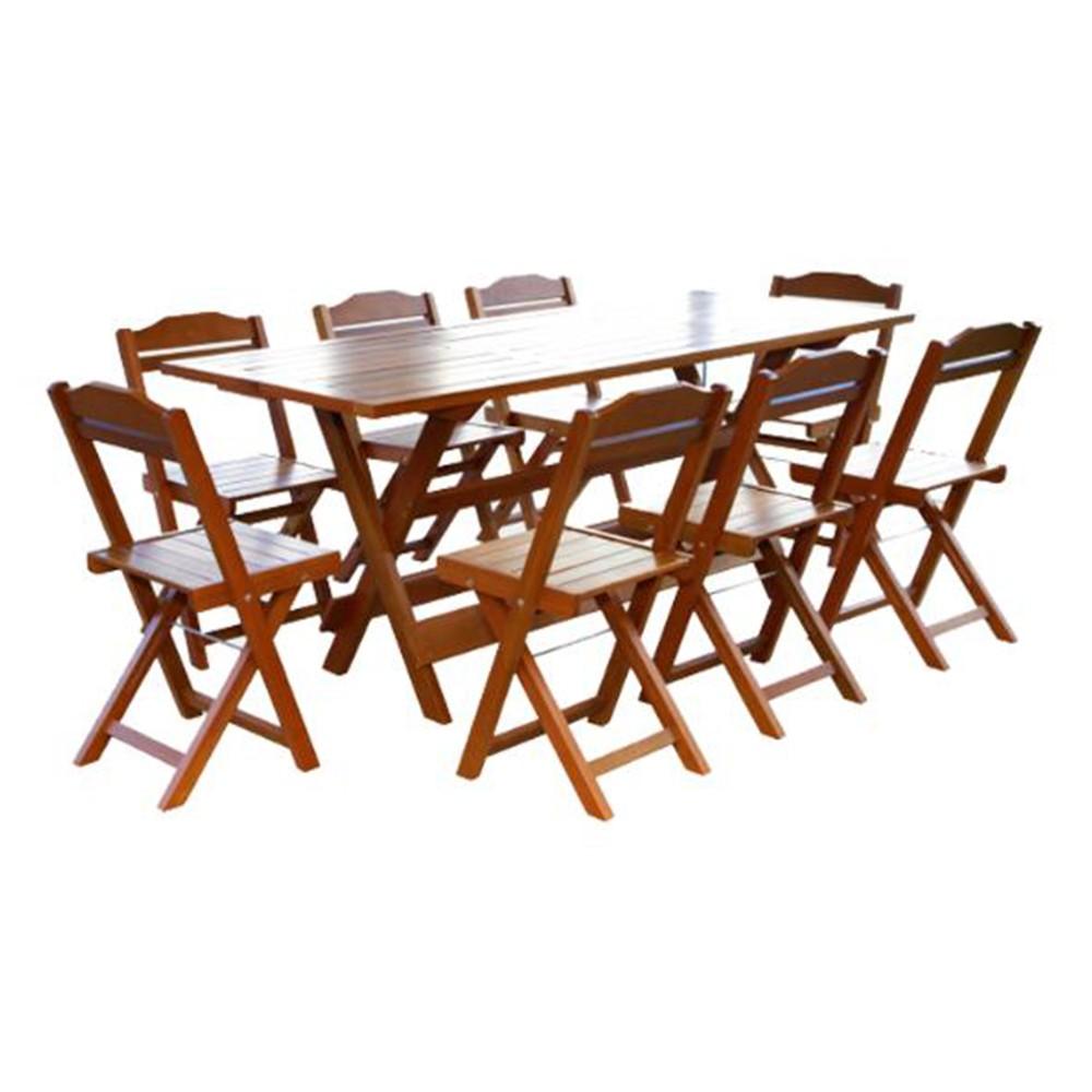 Mesa Rústica 2m para Churrasco e 8 Cadeiras Dobráveis
