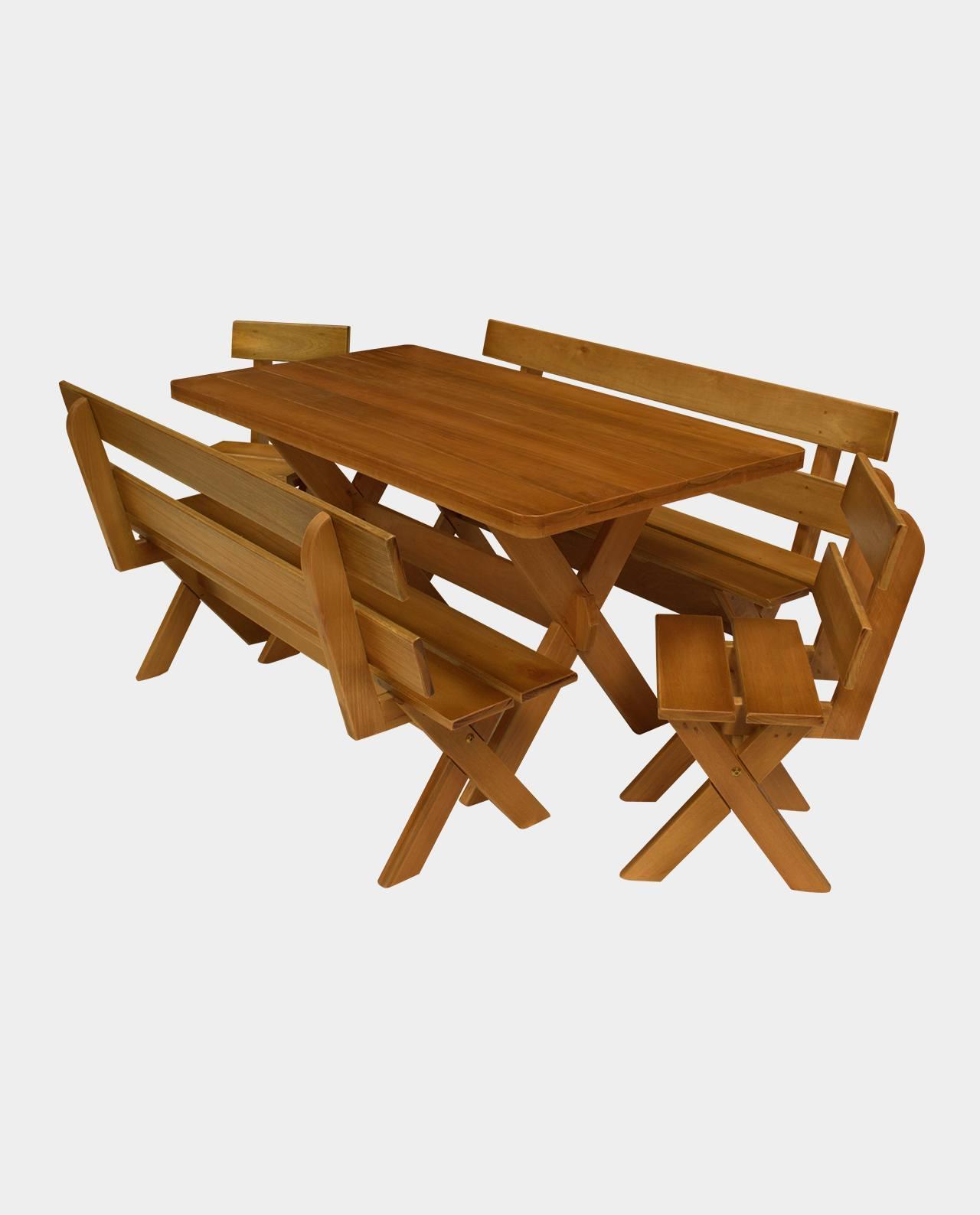 Mesa Rústica com Bancos e Cadeiras Madeira Maciça Eucalipto 1,60m  - Mesas para Churrasco