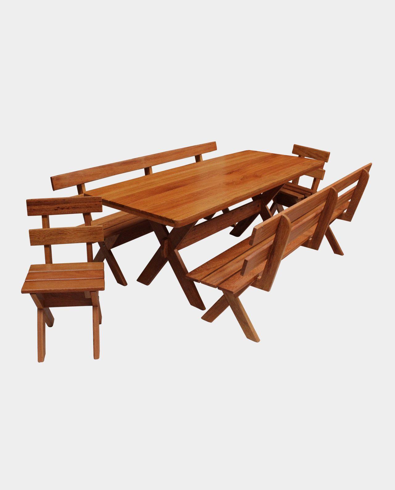 Mesa Rústica Com Bancos e Cadeiras Para Churrasco e Churrasqueira Madeira Maciça Angelim 2,00m