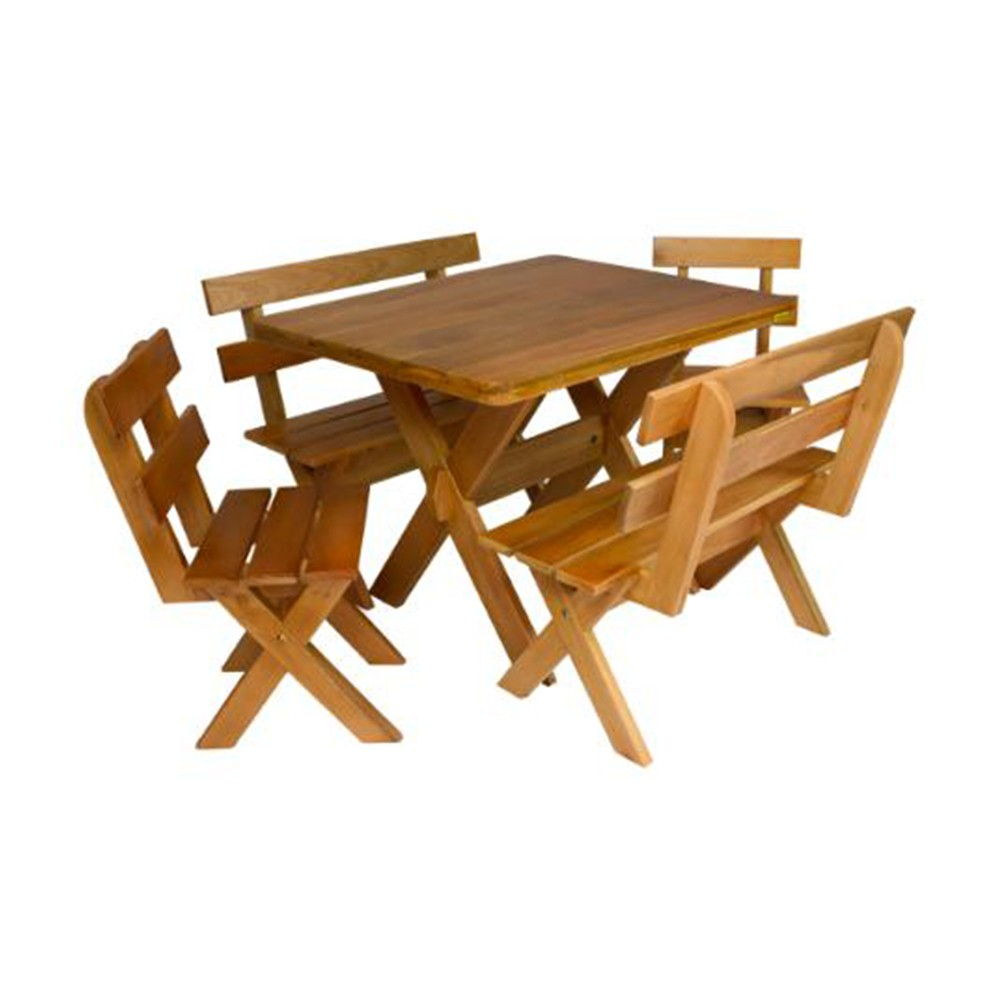 Mini Conjunto para Churrasco Mesa, 02 Bancos e 02 Cadeiras Eucalipto