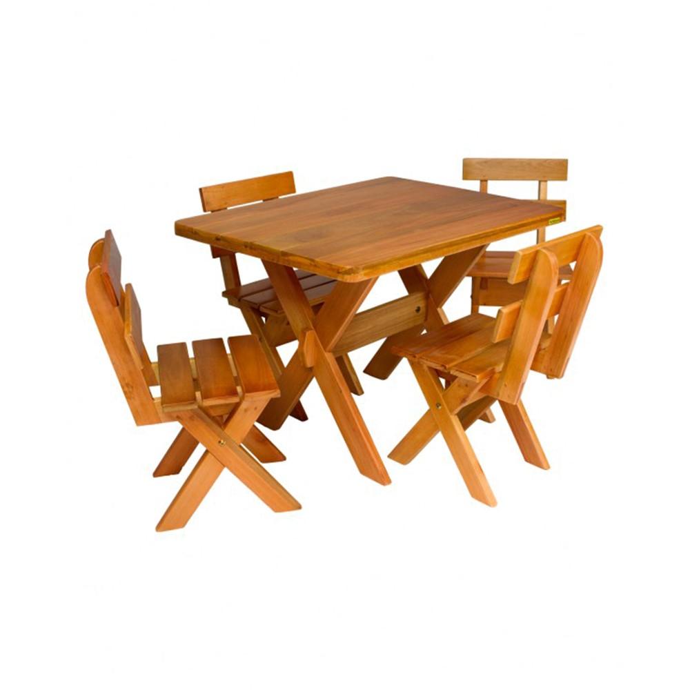Mini Conjunto para Churrasco Mesa e 04 Cadeiras Eucalipto 1,00m