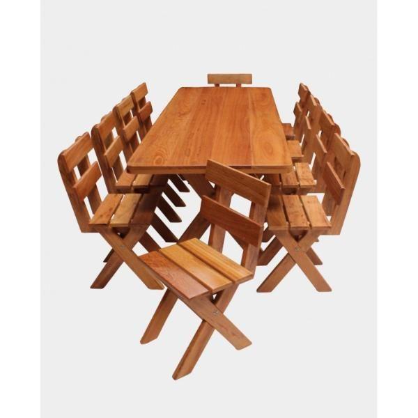 Conjunto Mesa 2,20m + 10 Cadeiras  - Mesas para Churrasco