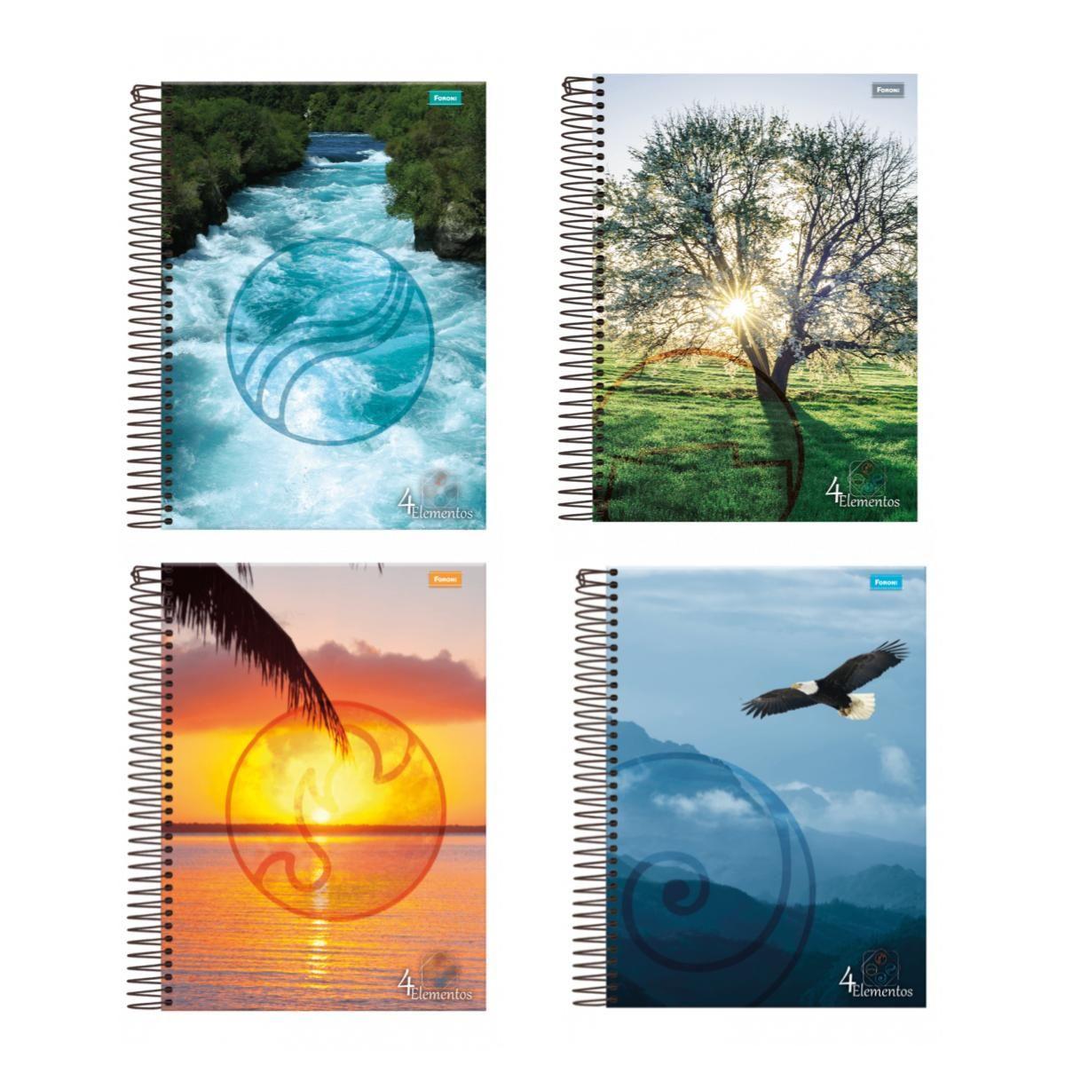 Caderno 4 Elementos 1x1 Capa Flexível 96 Folhas Foroni