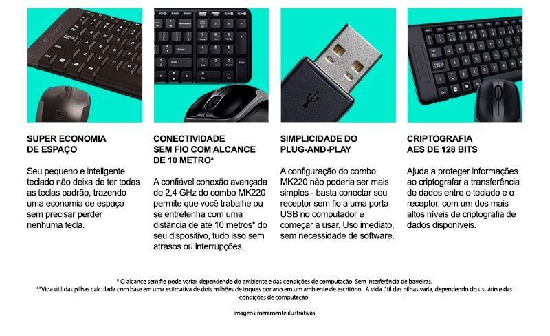 Kit Teclado e Mouse Sem Fio MK220 Logitech CX 1 UN