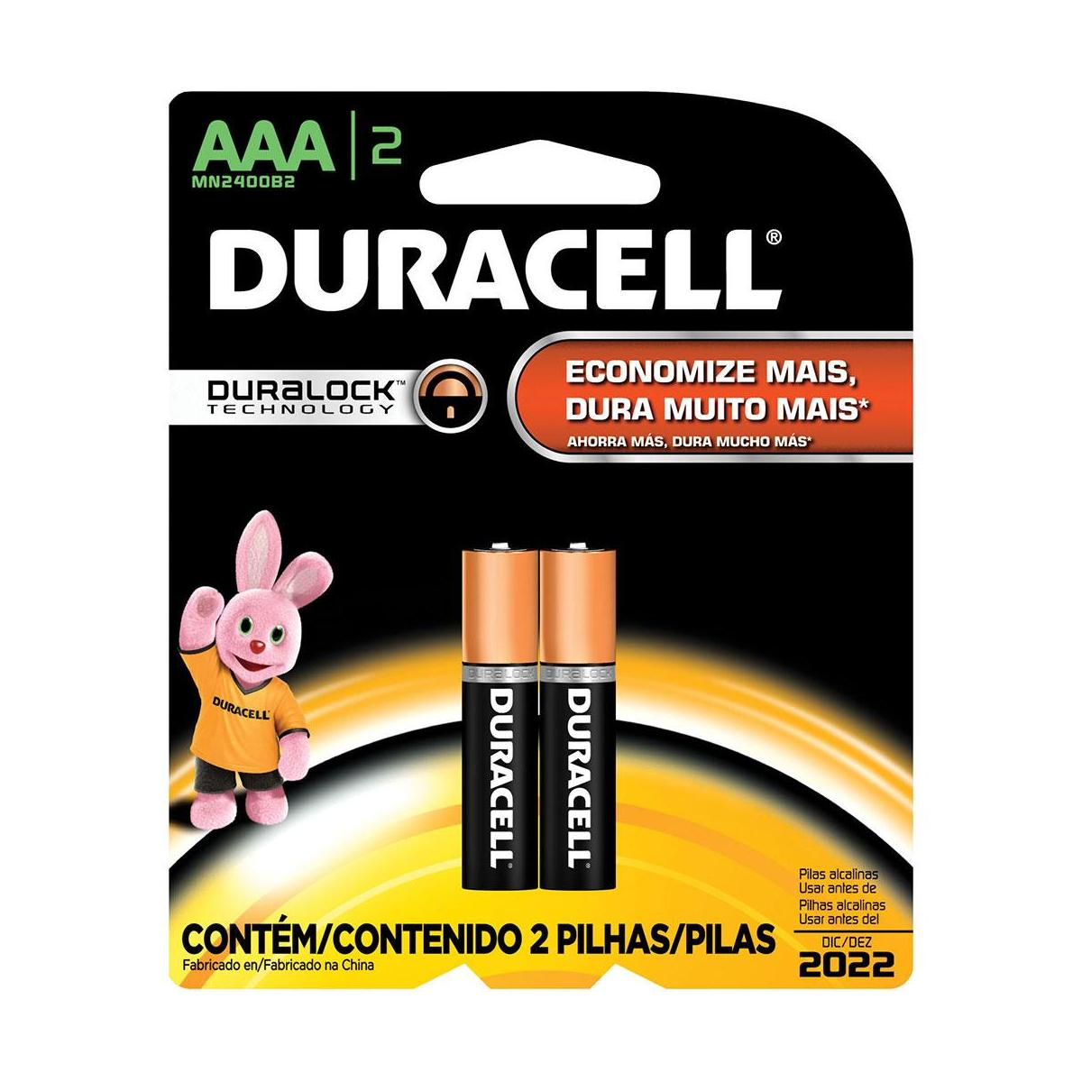 Pilha Alcalina Palito AAA C/2 Uni Duracell