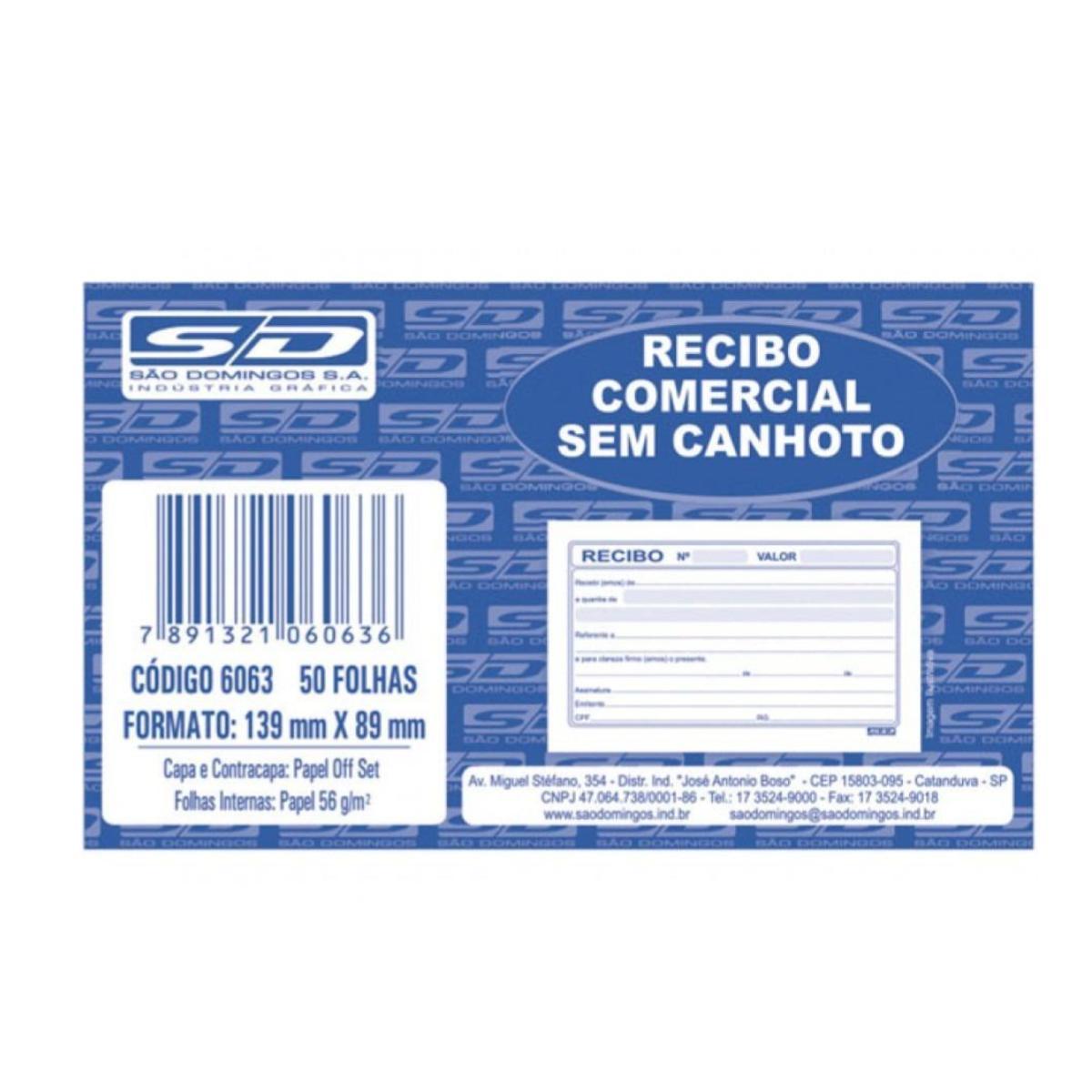 Recibo Comercial Sem Canhoto São Domingos