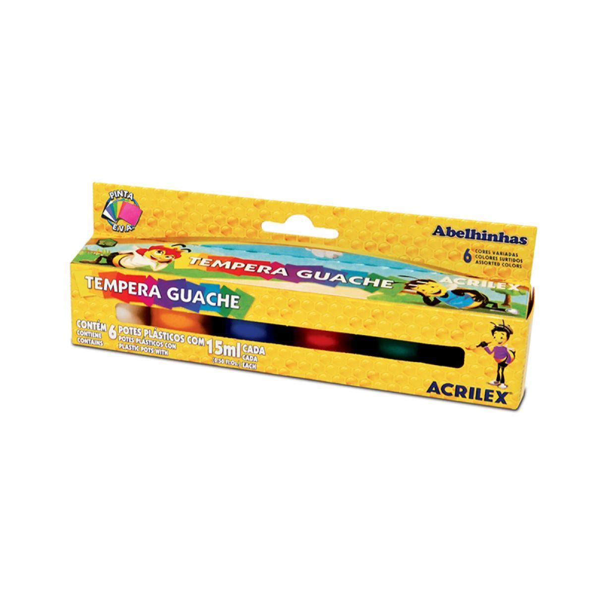 Tinta Guache Com 6 Cores 15ml Acrilex