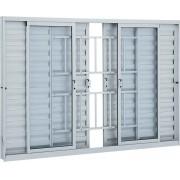 Janela Veneziana de Correr Grade Classic Alumínio 100x150x7,6  - 6 Folhas - Branco