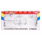 KIT DE BANHEIRO RIMINI 5 PÇS CROMADO CRISTAL - AQUAPLÁS