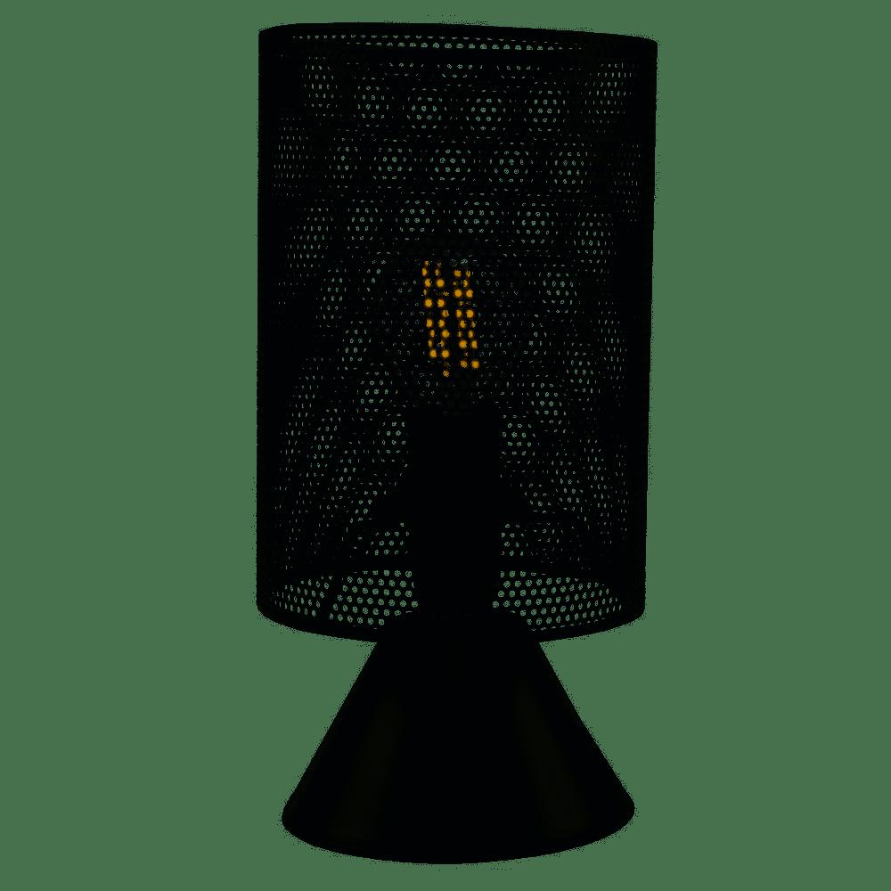 ABAJUR PRETO TRABALHADO COM INTERRUPTOR ST40489 21CM - DOMUS