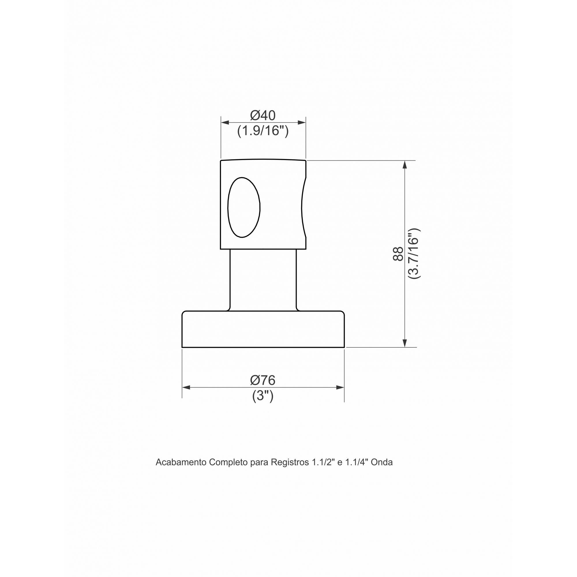 ACABAMENTO PARA REGISTRO 1/1.2 ONDA CROMADO 1162.4110 - PERFLEX