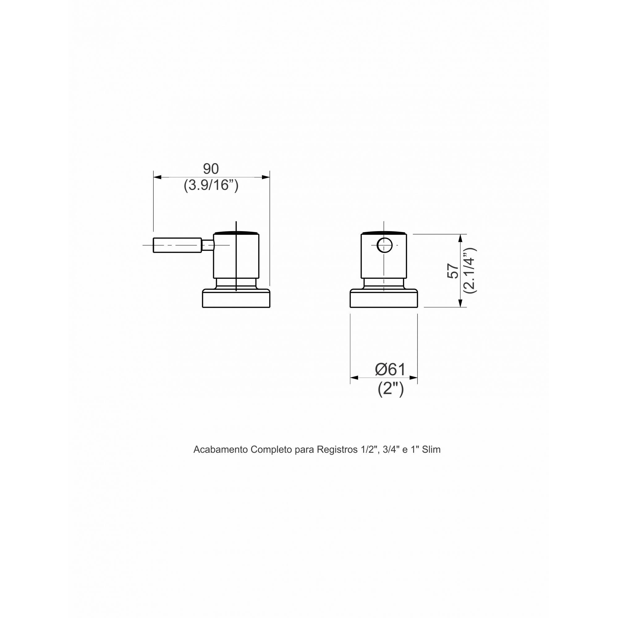 ACABAMENTO PARA REGISTRO 1/2 E 1 SLIM CROMADO 1162.2210 - PERFLEX