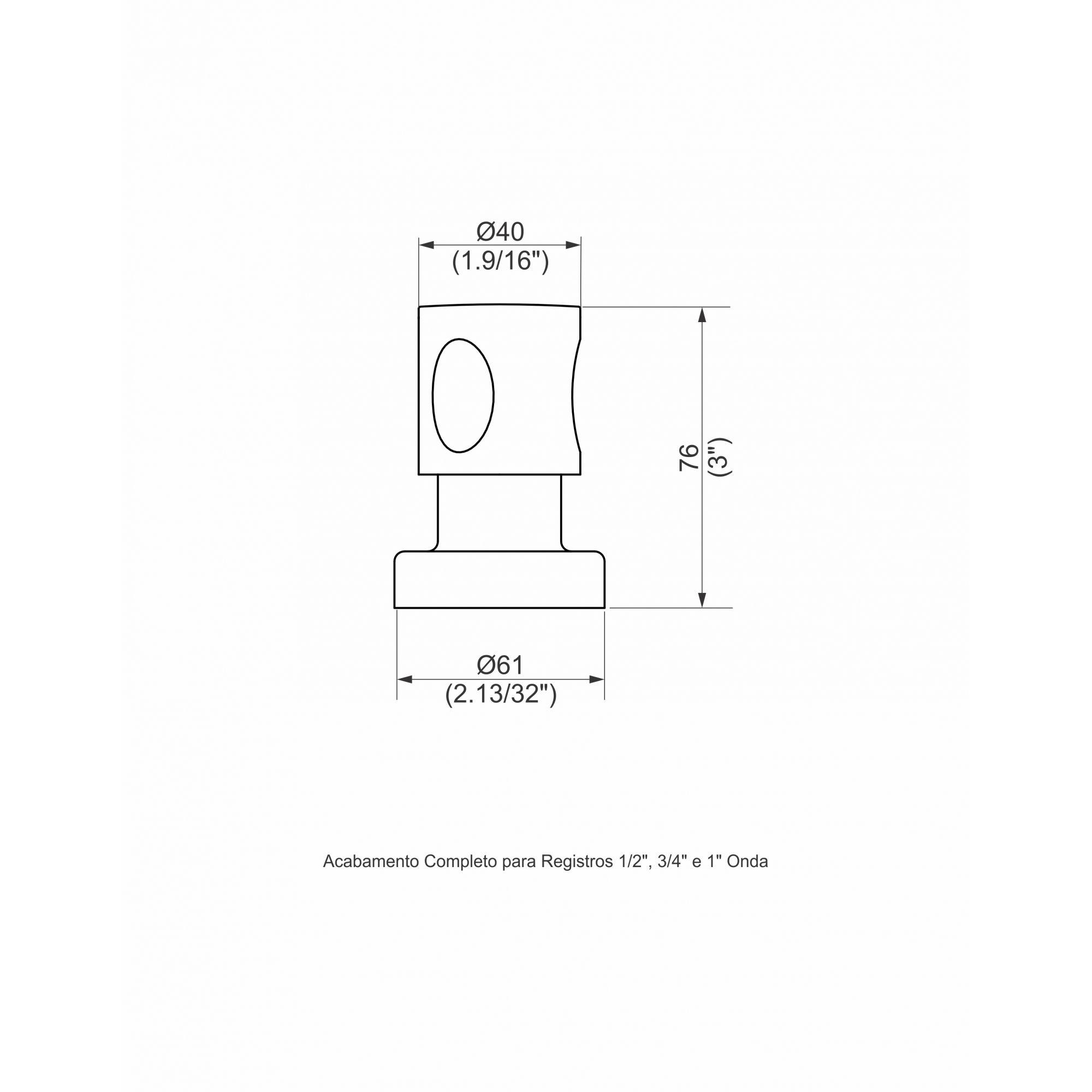 ACABAMENTO PARA REGISTRO 1/2 E 3/4 ONDA CROMADO 1162.4010 - PERFLEX