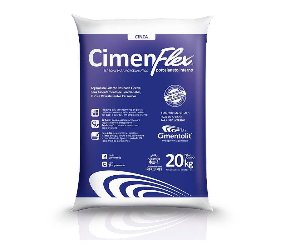 ARGAMASSA CIMENFLEX P/ PORCELANATO INTERNO CINZA 20KG - CIMENTOLIT