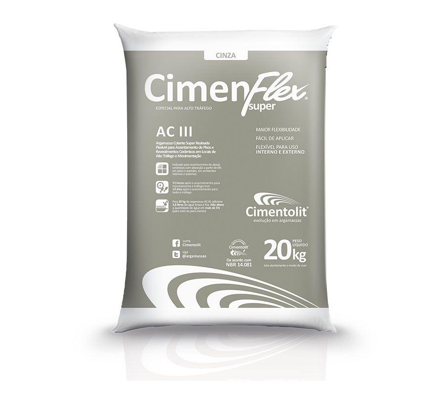 ARGAMASSA CIMENFLEX SUPER AC-III CINZA 20KG - CIMENTOLIT