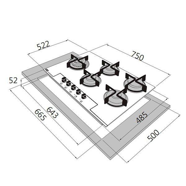 COOKTOP GLASS 5BC. GÁS PRETO FHG7554G - FRANKE