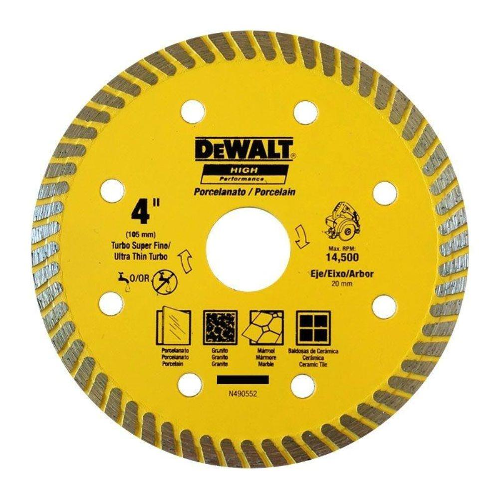 DISCO DIAMANTADO ULTRA FINO TURBO PORCELANATO 4'' (105MM) - DEWALT