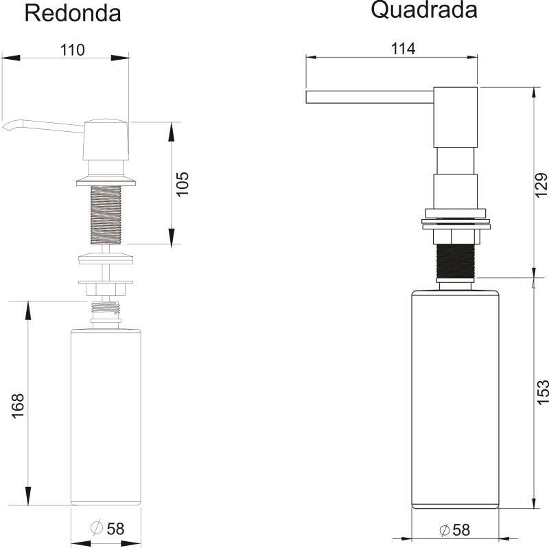 DOSADOR DE DETERGENTE LÍQUIDO 350ML BLACK MATTE TAMPA QUADRADA - GhelPlus