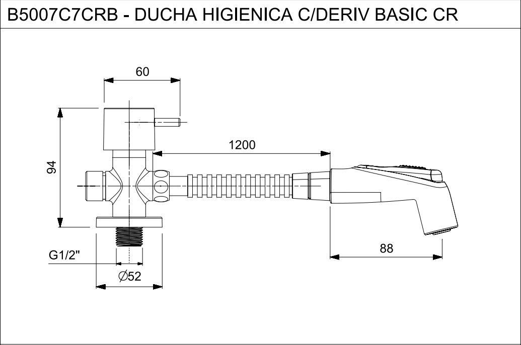 DUCHA HIGIENICA COM DERIVAÇÃO BASIC CROMADA B5007C7CRB - CELITE