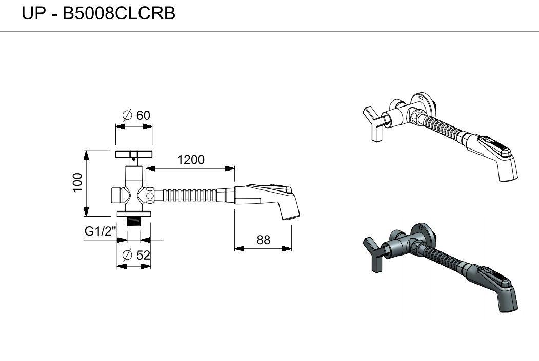 DUCHA HIGIÊNICA COM DERIVAÇÃO UP CROMADO B5008CLCRB - CELITE