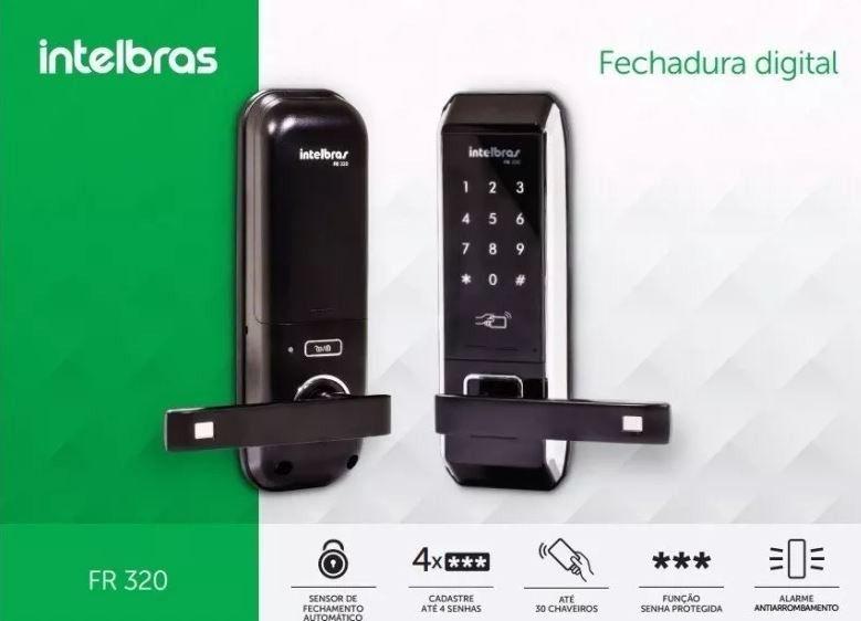 FECHADURA DIGITAL FR320 EMBUTIR TOUCH SCREEN COM MAÇANETA - INTELBRAS