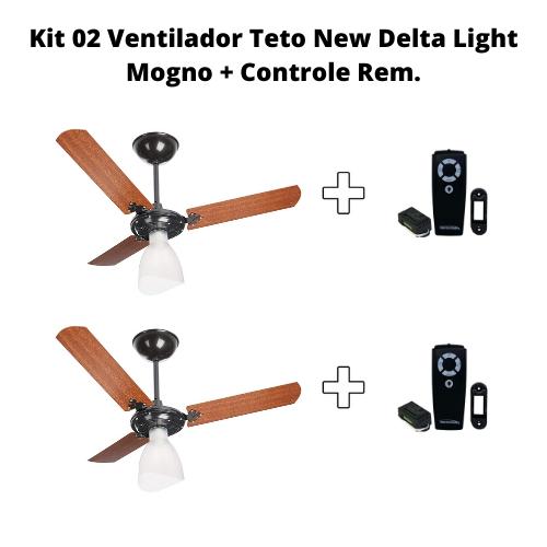 Kit 02 Ventilador Teto New Delta Light Mogno + Controle Rem.