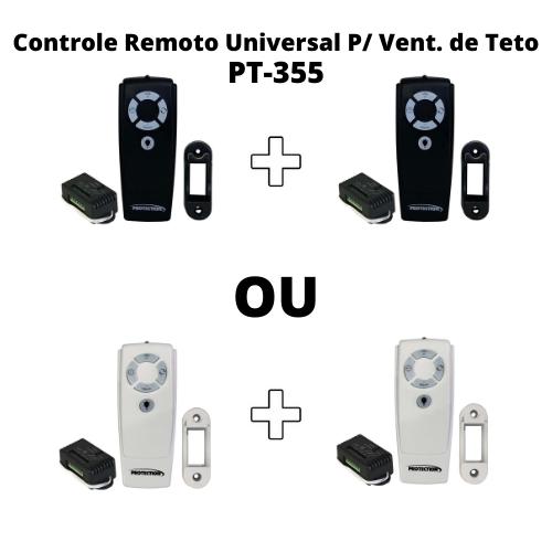 KIT 02UN CONTROLE REMOTO PT-355 UNIVERSAL SEM FIO PARA VENTILADOR DE TETO BRANCO E PRETO- PROTECTION