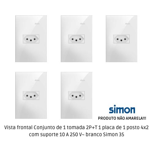 KIT 5 CONJUNTO DE 1 TOMADA 2P+T + PLACA 1 POSTO 4X2 COM SUPORTE 10 A 250 V~ BRANCO S35 35925-30 - SIMON