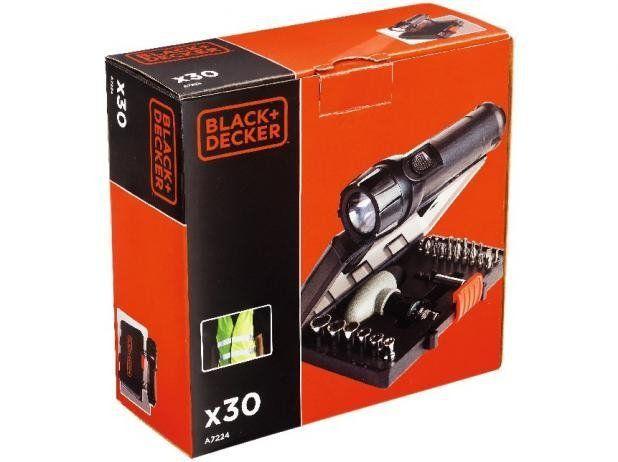 KIT PARA PARAFUSAR + LANTERNA 30 PEÇAS A7224-XJ - BLACK&DECKER